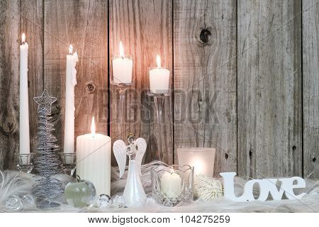 Holiday candles with Christmas decor