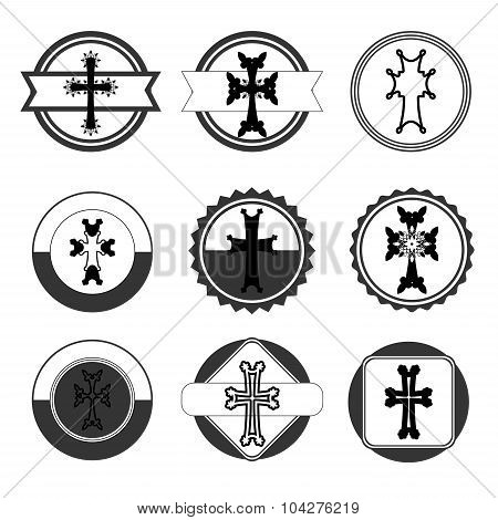 Vintage Set Of Crosses. Armenian Cross. Stock Vector