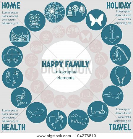 Infographic Elements With Text Happy Familiy-stock Vector.