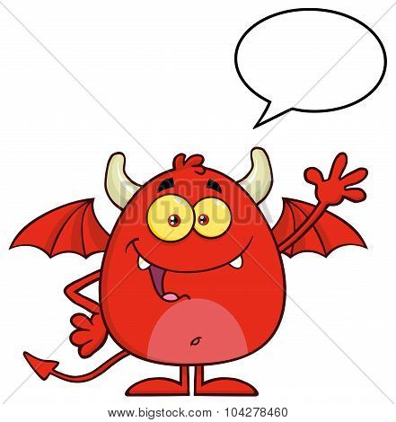 Red Devil Cartoon Character Waving With Speech Bubble