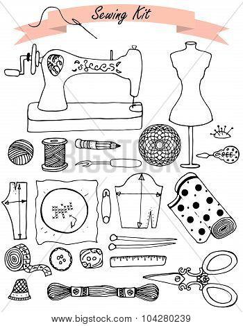 Sewing hand drawn vector kit