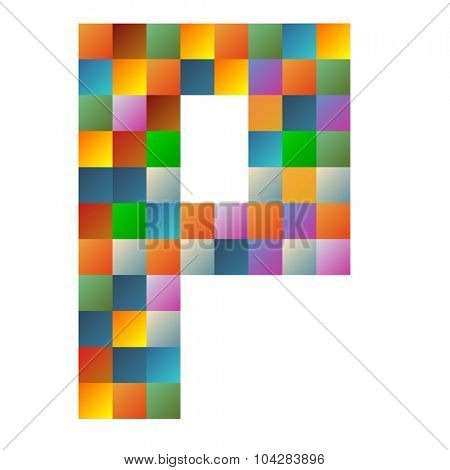 P, papa letter rainbow colorful sparkling vector illustration poster