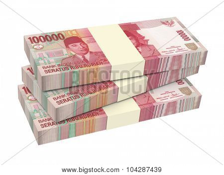 Indonesian rupiah money isolated on white background. Computer generated 3D photo rendering.