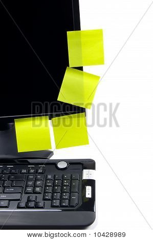 Black Monitor With Sticky Notes