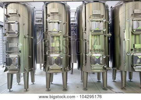 MARGAUX, FRANCE - AUGIST 13, 2015: Metal vats on Chateau Margaux wine factory. Chateau Margaux, archaically La Mothe de Margaux, is a wine estate of Bordeaux wine