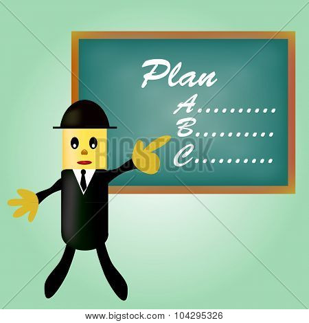 business man pointing planning .Flat design vector illustration.