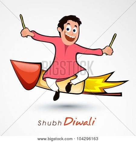 Cute little boy flying on rocket for Indian Festival of Lights, Shubh Diwali (Happy Diwali) celebration.