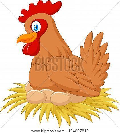 Cartoon hen in the nest brooding her egg