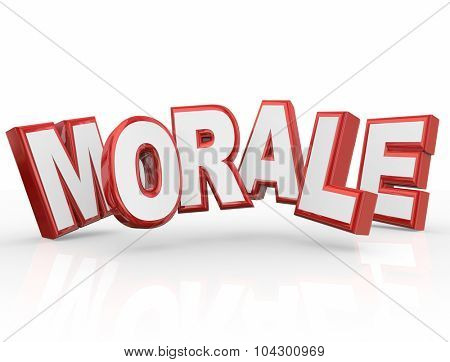 Morale red 3d word to illustrate team spirit, attitude or mood poster