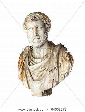 Ancient bust of Roman Emperor Antoninus Pius