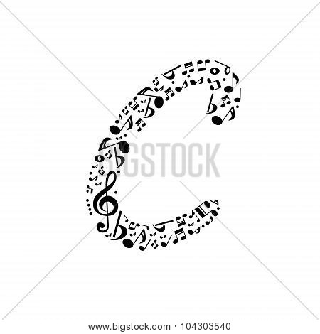 Abstract vector alphabet - C made from music notes - alphabet set