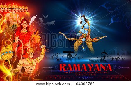 illustration of Lord Ram, Sita, Laxmana, Hanuman and Ravana in Dussehra poster