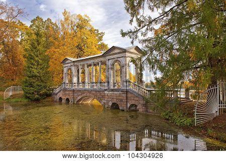 Marble Bridge In Tsarskoye Selo (pushkin), Saint-petersburg In Autumn