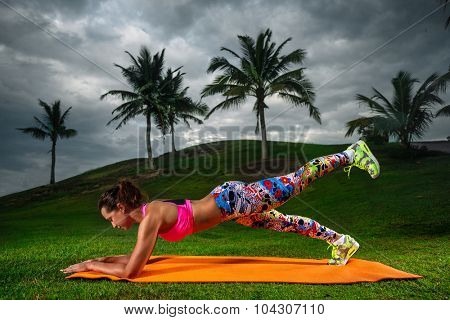 Slim fitness young woman Athlete girl doing plank exercise outside. Concept training workout crossfit gymnastics cross fit.