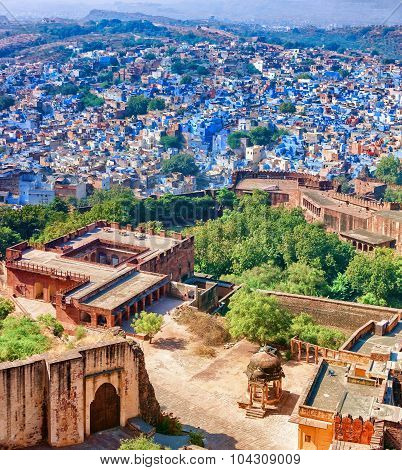 Jodhpur. View From Blue City And Mehrangarh Fort. Rajasthan, India