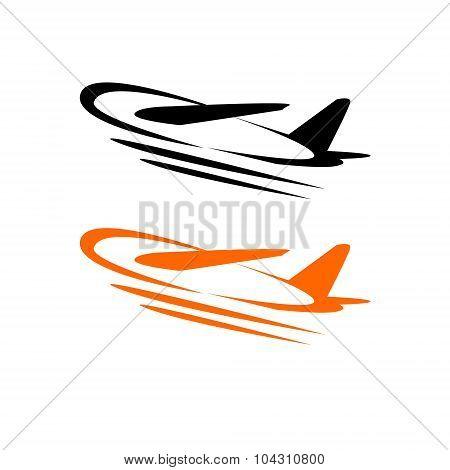 Flying airplane - stylized vector illustration. Grey icon on white background