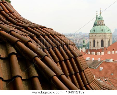 Arc Tile roof near St Nicholas Cathedral Prague poster