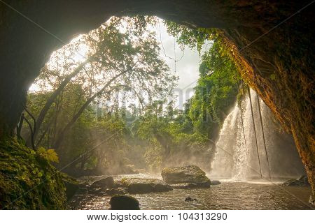 Haew Suwat Waterfall From Cave In Khao Yai National Park,Thailand.