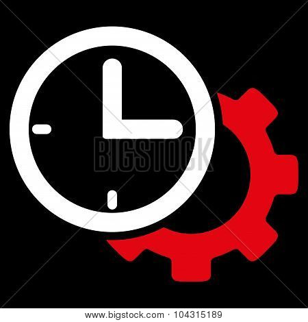 Time Setup vector icon. Style is bicolor flat symbol, red and white colors, rounded angles, black background. poster