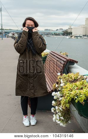 Girl On The Bank Of Moscow-river
