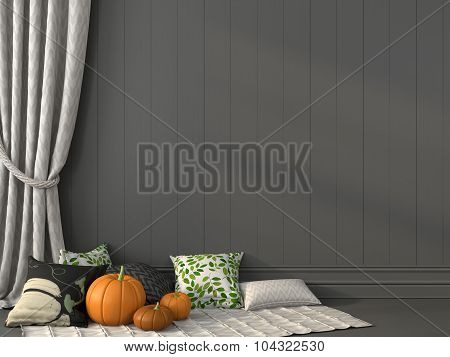 Pillows With Print Against The Gray Wall And Curtain