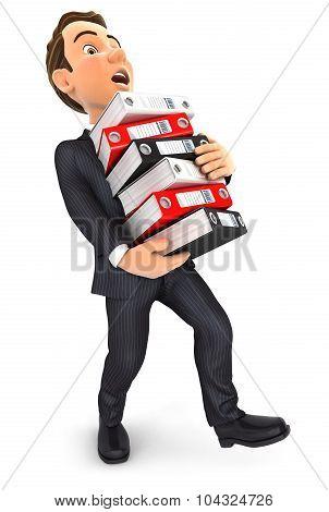 3d businessman overworked