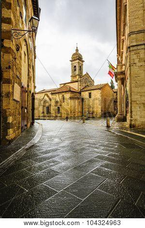 la Collegiata antique cathedral of San Quirico d'Orcia, Tuscany, Italy
