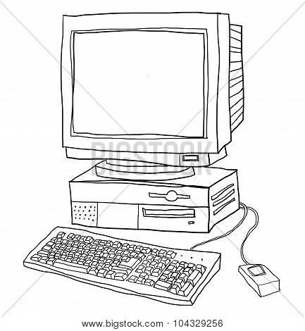 Old Computer Desktop  Cute Line Art Illustration