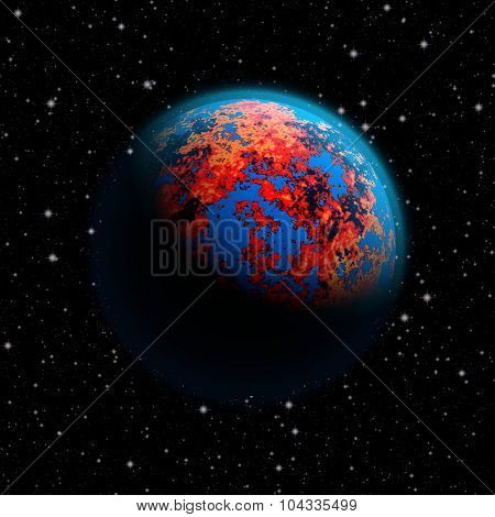 Abstract Future Planet Earth With Blue Atmosphere And Burning Red Continents. Full Hd Video Also Ava