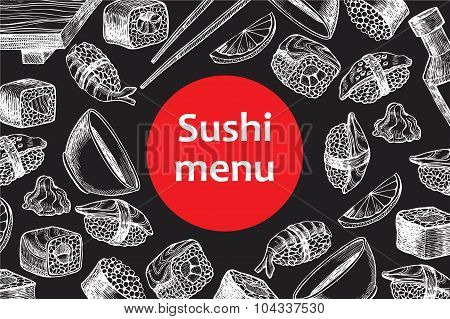 Vector Vintage Chalkboard Sushi Restaurant Menu Illustration.