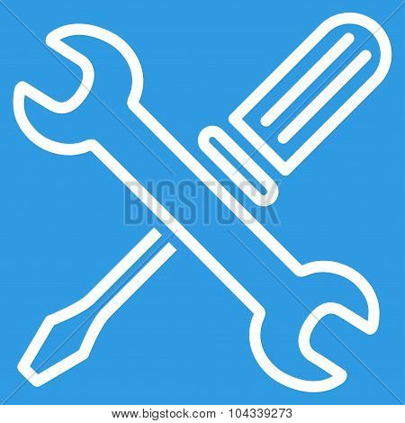 Tuning Tools vector icon. Style is flat contour symbol, white color, rounded angles, blue background. poster