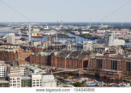 View over Hamburg Germany to the Speicherstadt poster
