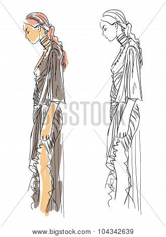 Sketch Fashion Poses - a woman with gray dress