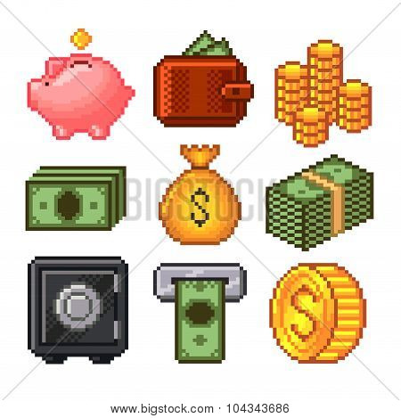 Pixel Money Icons Vector Set