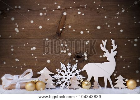 Golden Christmas Decoration, Snow,Tree, Reindeer,Gift, Snowflake