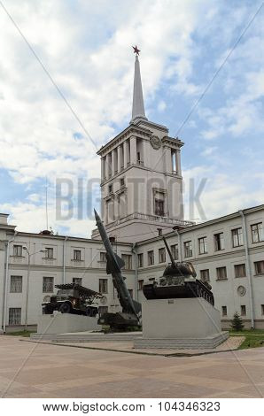 EKATERINBURG RUSSIA - JULY 31, 2009. Exhibition of military equipment near the officers district house on July 31 2009.