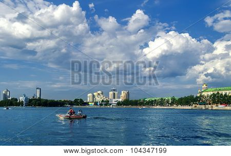 EKATERINBURG, RUSSIA - AUGUST 17, 2013. Panorama of Ekaterinburg and water area of Iset river