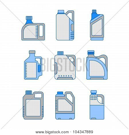 Blank Plastic Canisters, Flat Icons. Plastic Packaging For Machine Oil, Water And Other Liquids