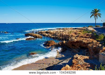 Denia Las Rotas Rotes beach in Alicante Mediterranean sea of Spain