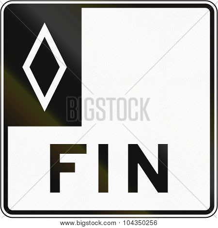 Regulatory road sign in Quebec Canada - End of special lane. Fin means end. poster