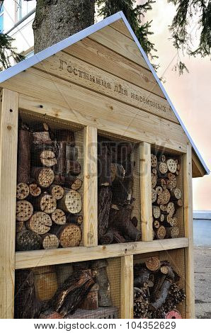 VELIKY NOVGOROD RUSSIA - APRIL 30 2015. Insect hotel - manmade structure created from natural materials