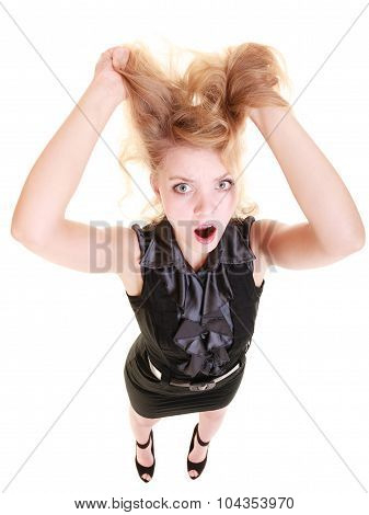 poster of Angry businesswoman crazy boss furious woman screaming and pulling messy hair isolated on white. Stress and negative emotions.
