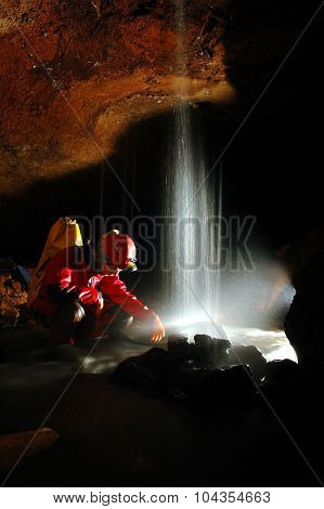 Underground River And Waterfall In A Cave