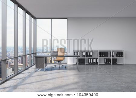 A Workplace In A Modern Corner Panoramic Office With New York City View. A Black Desk With A Laptop,