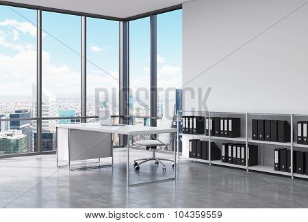 A Ceo Workplace In A Modern Corner Panoramic Office In New York City. A White Desk With A Laptop, Wh