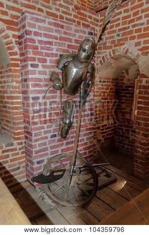 VELIKY NOVGOROD RUSSIA - AUGUST 18 2014. The interior of the tower of the Novgorod Kremlin. Exhibits of installation dedicated to the victory over the Teutonic Knights on Peipus Lake in 1242