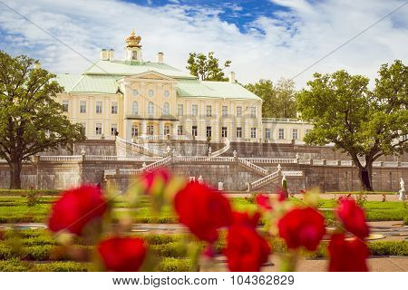 LOMONOSOV, RUSSIA - AUGUST 20, 2014: Panorama of the Grand Menshikov Palace, the Palace and Park ensemble of Oranienbaum, Russia poster