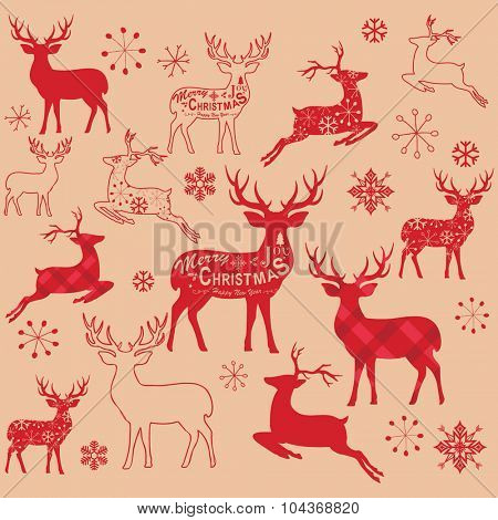 Vintage Christmas Reindeer Design Elements