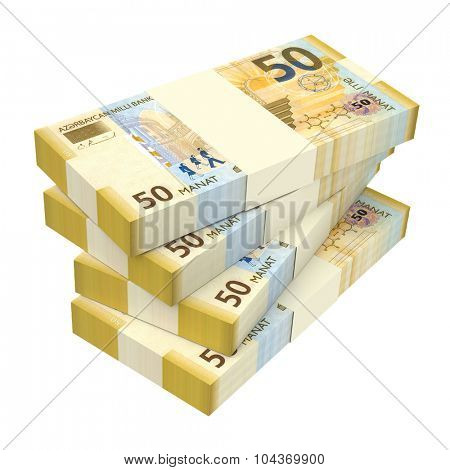Azerbaijan manat isolated on white background. Computer generated 3D photo rendering. poster