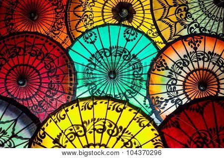 Colorful Parasols At Traditional Asian Market In Bagan, Myanmar